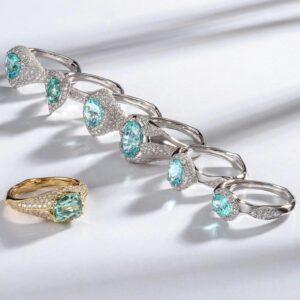 Златни пръстени с Парайба турмалини